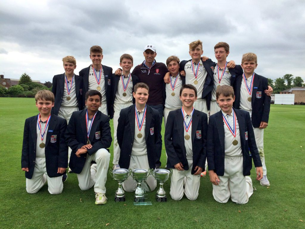 Solihull School under-13s with Nasser Hussain